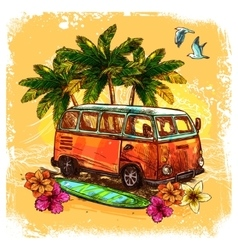 Surf Bus Sketch Concept vector