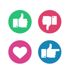 thumbs up down sign point finger and heart icons vector image