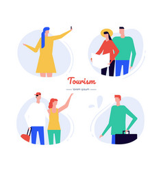 Tourism - flat design style characters set vector