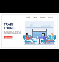 Train tours web landing page template vector