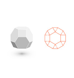 Truncated octahedron is a geometric figure vector