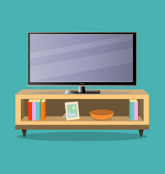 Tv and tv table in living room on the green vector