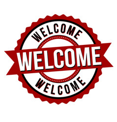welcome label or sticker vector image