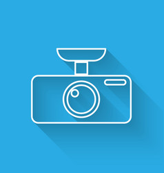 White car dvr icon isolated with long shadow car vector