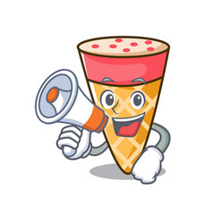With megaphone ice cream tone character cartoon vector