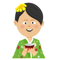 Woman wearing japanese kimono holding tea cup vector