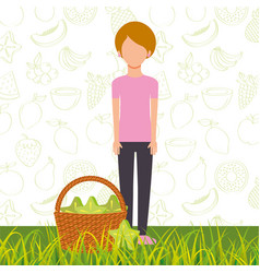 woman with basket full carambola in the grass vector image
