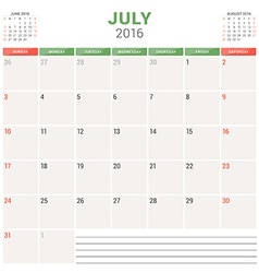 Calendar Planner 2016 Flat Design Template July vector image vector image