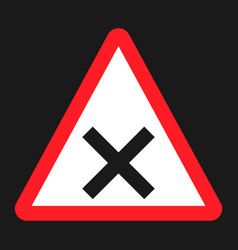 crossroads sign flat icon traffic and road sign vector image