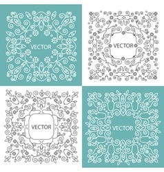 Floral frame mono line style vector image
