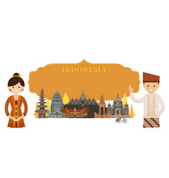 indonesia landmarks people traditional clothing vector image