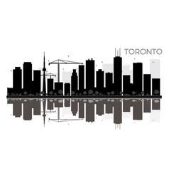 toronto city skyline black and white silhouette vector image