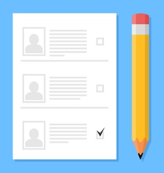 Voting sheet and pencil vector image vector image