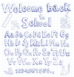 welcome back to school font on lined sheet vector image