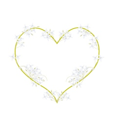 White Indian Cork Flowers in A Heart Shape vector image vector image