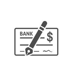 Bank check icon flat vector