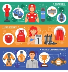 Boxing Flat Horizontal Banners vector image