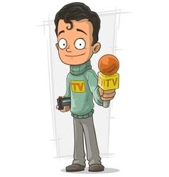 Cartoon TV journalist with orange microphone vector image
