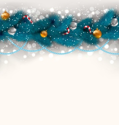 Christmas decoration with fir branches glass balls vector