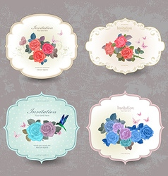 collection vintage cards with blue roses for your vector image