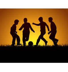 Four boys playing football vector image