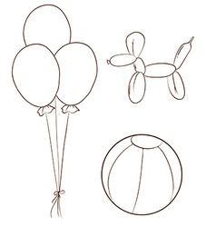 Simple sketches of the balloons and a ball vector image