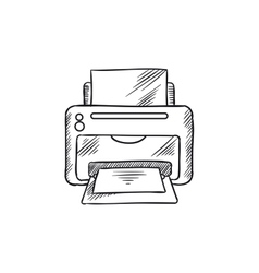 Sketch icon of office inkjet printer with paper vector image