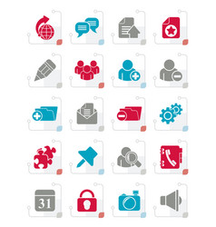 stylized internet blogging icons vector image vector image
