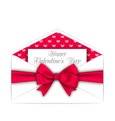 envelope with celebration card and pink bow ribbon vector image vector image