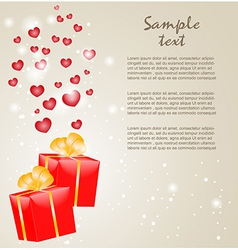 Gift boxes with gold ribbons and hearts vector image