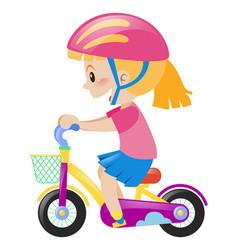 little girl wearing pink helmet riding bike vector image vector image
