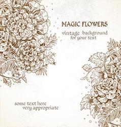 Magic flowers vintage background vector image
