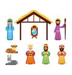 set of people animal manger christmas holiday vector image