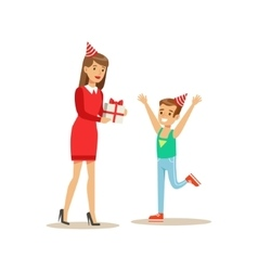 Woman Giving Boy A Present Kids Birthday Party vector image