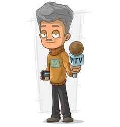 Cartoon tv journalist with microphone and recorder vector