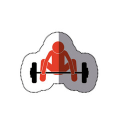 people man trying to lift weight icon vector image vector image