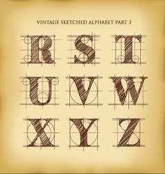 Vintage sketched alphabet set 3 vector image vector image
