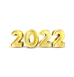 2022 golden balloon numbers for new year vector