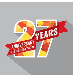 27th Years Anniversary Celebration Design vector image