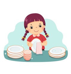 A little girl drying dishes vector