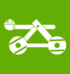 Ancient wooden catapult icon green vector