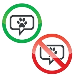 Animal paw message permission signs vector