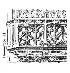 Balustrade flamboyant balustrade vintage engraving vector