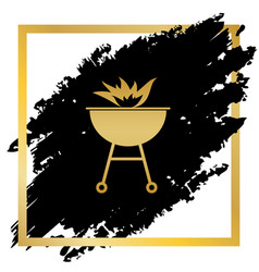 Barbecue with fire sign golden icon at vector