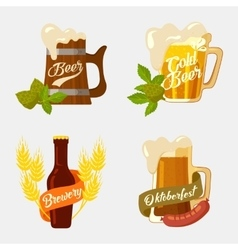Beer in wooden and glassware mug with foam bottle vector