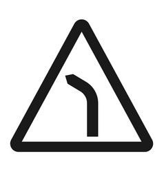 Bend to left warning sign line icon vector