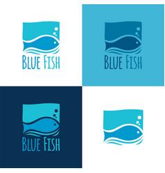 Blue fish logo vector