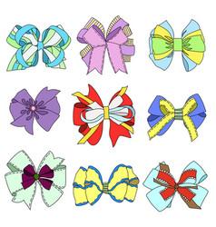 Bow ribbon set vector