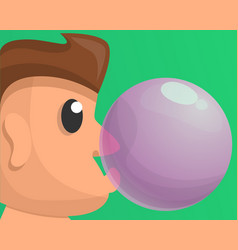 Boy bubble gum concept background cartoon style vector