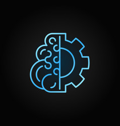 Brain with gear blue concept line icon or vector